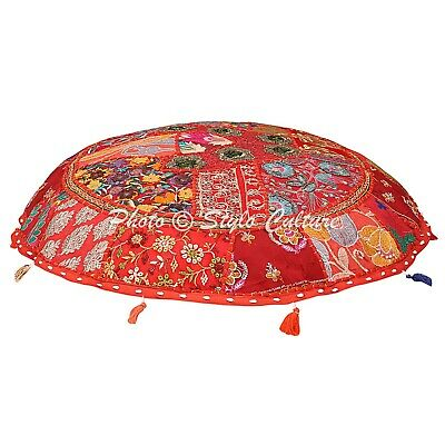 Ethnic Round Floor Cushion Cover Vintage Patchwork Red 40x40 Cotton Foot Stool