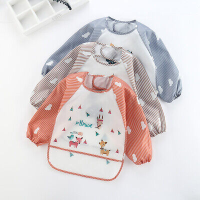 Baby Toddler Kids Bib Long Sleeve  Apron Waterproof Cartoon Feeding Art Smock US