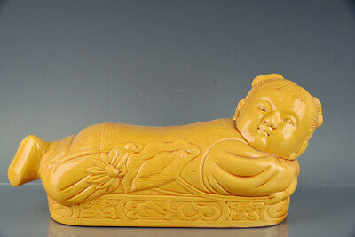 Chinese Old Porcelain ding kiln yellow glaze Lotus girl Pillow Statues 15.3""