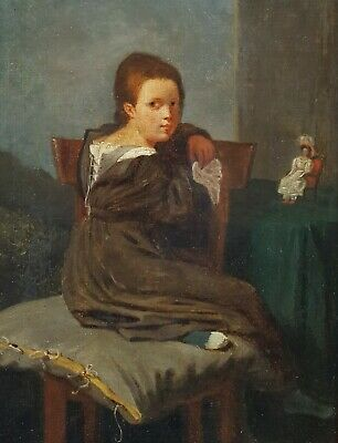 Antique Portrait Oil Painting, 19th Century French Portrait of a Young Girl