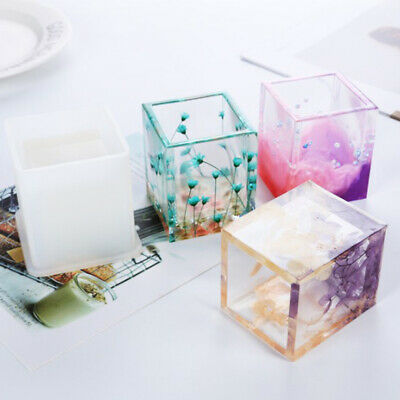DIY Silicone Mold Pen Container Square Round Storage Holders Epoxy Resin Mold h