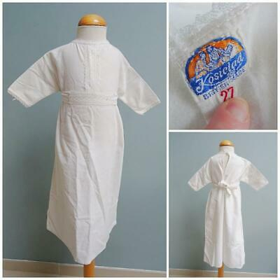 Vintage Babys Nightgown Nightie White Flannel Embroidered Lace 1920s Baby 20s