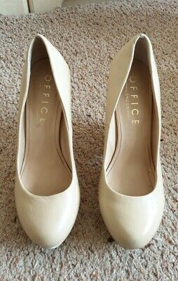 Office London Size 6 39 Womens Nude  Leather Wedge Heels Slip On Court Shoes