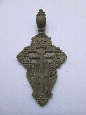 "ANTIQUE 18-19th CENTURY LARGE ORTHODOX ""OLD BELIEVERS"" ORNATE CROSS w/ PSALM 68"