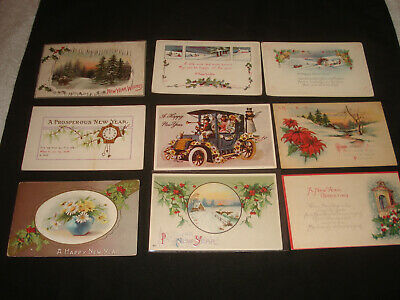 44 Vintage Antique early 1900s New Years Holiday postcards lot un unused