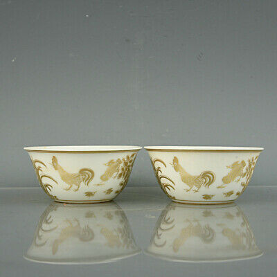 Chinese Fine Antique Porcelain chenghua marked pair gilt chicken Teacup 3.3""
