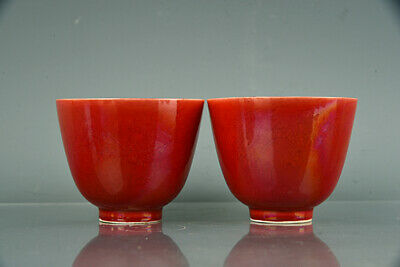 "Old Chinese Antique Porcelain chenghua mark red glaze pair dragon Teacup 2.9""B2"