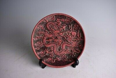 Chinese Old Cinnabar Red Lacquer Plate Dish / W 19.5[cm] Qing Pot Bowl