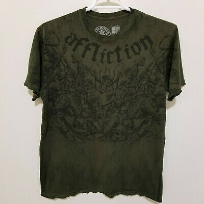 Affliction Live Fast T Shirt Factory Distressed Green Mens Extra Large (XL)