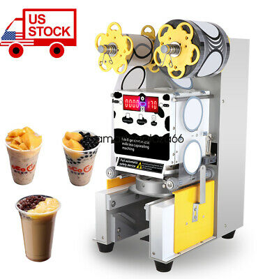 USA STOCK Automatic Sealer Paper/Plastic cup sealing For Bubble Milk Coffee