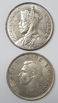 New Zealand 1935 and 1945 1/2 Half Crown XF/AU