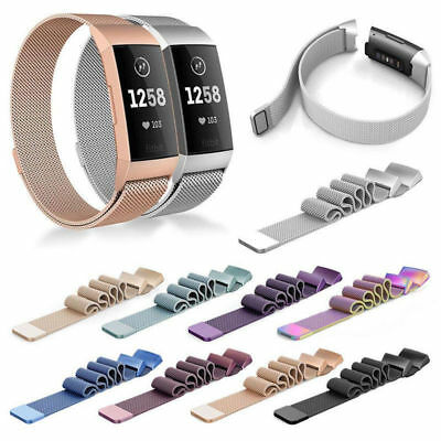 Stainless Steel Mesh Milanese Loop Magnetic Watch Strap Band for Fitbit Charge 3