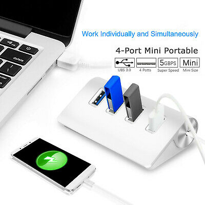 Aluminum 4 Port USB 3.0 Hub 5Gbps High Super Speed Adapter Cable For PC Laptop