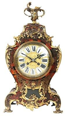 A good quality 19th century, French Boulle inlaid mantel (fireplace) Clock