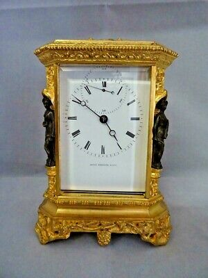 19th Century French Travel Pendulum Clock  Signed  Japy Style Rococo 1835