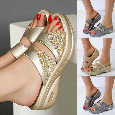 Women Sparkly Wedge Heel Slippers Sandals Ladies Summer Comfy Mules Slider Shoes