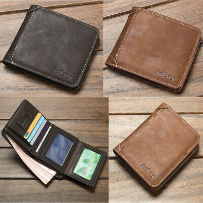 Men's Wallet Vintage PU Leather Wallet Trifold Wallet RFID Blocking Purse