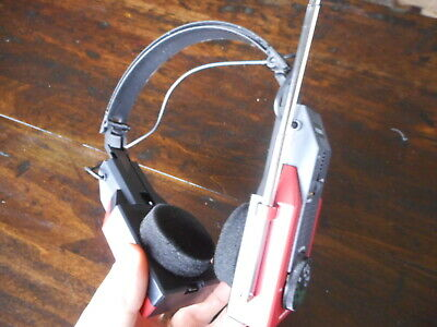 Vintage International Radio Headphones Red Black 1970's  Does not work Prop