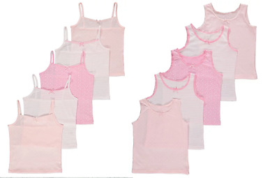 Girls 5 Pack Pink White Vests Cami Vest 1.5 - 12 Years