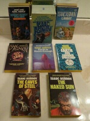 7 Vintage Science Fiction Books ISAAC ASIMOV 5 Box Set+2 I ROBOT/NORBY/EARTH