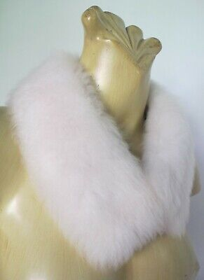 COLLAR White Genuine FUR 50s Vintage Satin lining Furrier hook & eye Scarf Retro