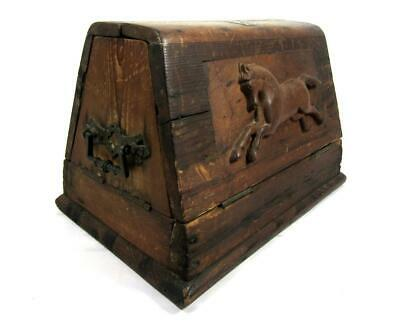 Antique 19thC TOOL BOX CARVED HORSE FOLK ART AAFA Farrier/ Primitive/ Wood