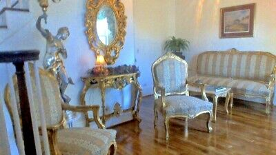LOUIS XV FRENCH SETTEE Gold Gilt Canape, 2 Arm Chairs, Tea Table, SALON SUITE