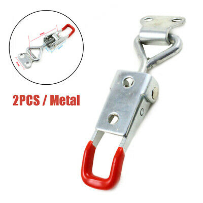 2PCS Metal Adjustable Pull Latch Hasp Door Cabinet Boxes Toggle Latch Catch Kit