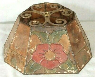 Antique Arts & Crafts Mission Painted Mica Lamp Shade