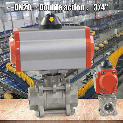 """3/4"""" Pneumatic Air Actuated Double Acting Ball Valve Stainless steel Pipeline"""