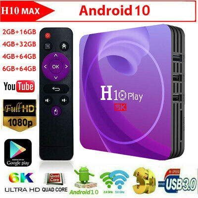 H10 Play 6K Android 9.0 Quad Núcleos 64bit Smart TV Box Wi-Fi Medio Reproductor