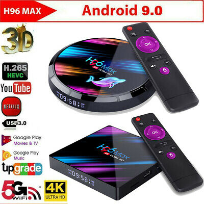 H96 Max Android 9.0 Smart TV Caja Quad Core 4K HD 5.8GHz Wifi Media Reproductor