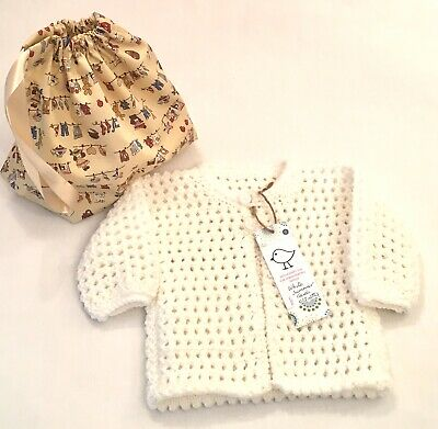 Kiddashery Girls 0-3mths Summer Cardigan, White Hand Knitted + Nursery Dust Bag