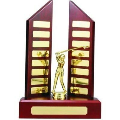 Perpetual Trophy with Centre Figurine 300mm (16 Plates) Timber Veneered
