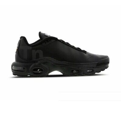 Nike Air Max Plus TN SE BG Trainers UK 4  Boys Girls Triple BLACK Genuine