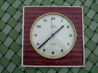 Vintage ceramic kitchen table clock JUNGHANS wall antique Germany