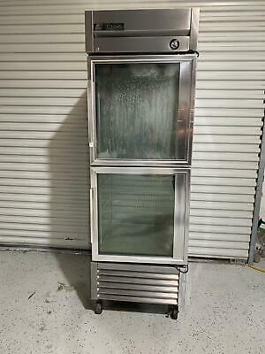 """True T-23G-2 Single Section Reach-In Refrigerator Cooler 27"""" 2 Glass Doors 115v"""