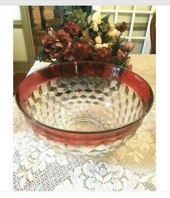 A Vintage Large Indiana Depression Glass Diamond Point Ruby Red Bowl 13""
