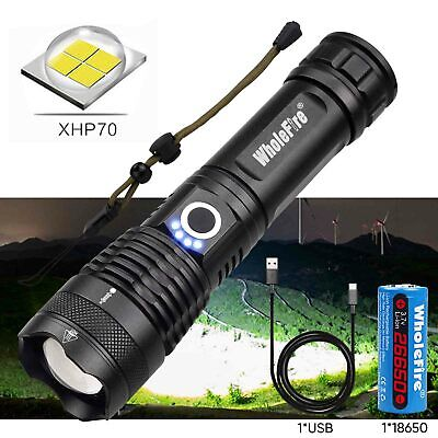 Garberiel 990000lm XHP70 26650 18650 USB Rechargeable Flashlight Zoom Torch lamp