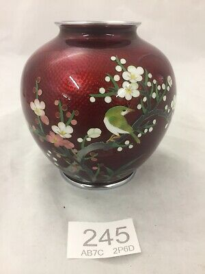 Stunning Japanese Ginbari Pigeon Blood Red Cloisonne Vase Cherry Tree & Bird
