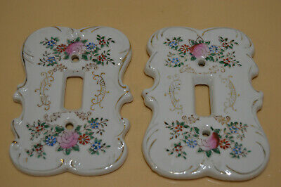 Vintage Porcelain Single Switch Plate (Lot Of 2 Plates)