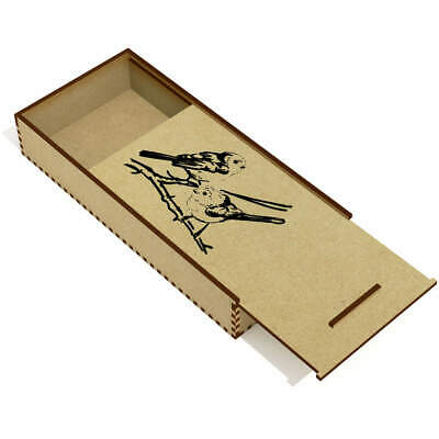 'Long Tailed Tits' Wooden Pencil Case / Slide Top Box (PC00020909)