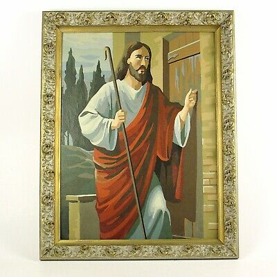 Vintage Paint by Number Jesus Ornate Framed PBN Religious Kitsch Wall Decor