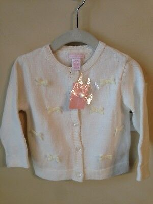 NWT First impressions baby girl sweater Ivory 12 Months Velvet Bows Button