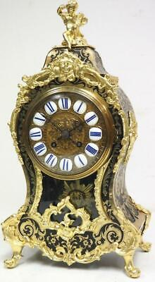 Rare Antique French Inlaid Boulle Bracket Clock 8 Day Shell Mantel Clock C1860