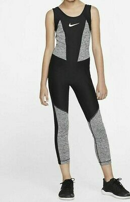 Nike Studio Gymnastics Training Bodysuit - Black Grey Bv2797-032 Girls Xs S L Xl