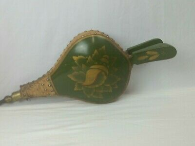 """Vintage Antique Fireplace Bellows Leather 20"""" Long Leather Wood  Painted"""