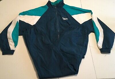 Vintage Reebok Mens Medium 2 Piece Track Suit Jacket Pants Windbreaker Style