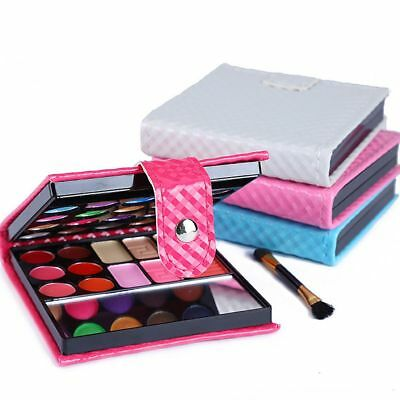 Pro 32 Colors Shimmer Eyeshadow Eye Shadow Palette & Makeup Cosmetic Brush Set=