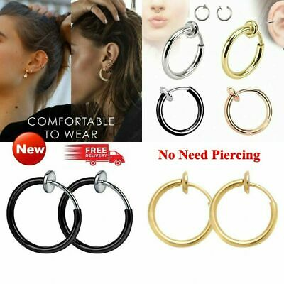 2x Fake Clip On Spring Nose Hoop Ring Ear Septum Lip Eyebrow Earring No Piercing